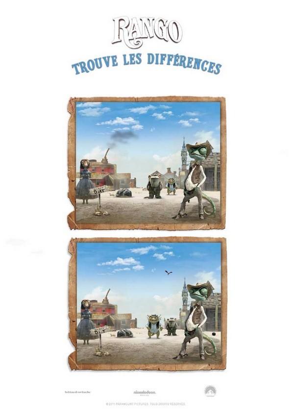 Jeu à imprimer Differences : Trouve les différences Rango 4